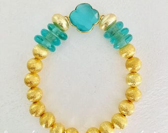 GOLD and TURQUOISE Beaded Bracelet   aqua, gemstone, clover, quatrefoil, stretchy, Designs by Laurel Leigh