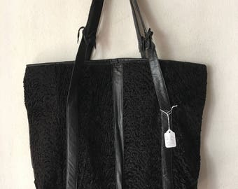Real fur women's bag from real astrakhan fur and leather soft fur&recycling leather designer bag stylish bag vintage style black size-large.