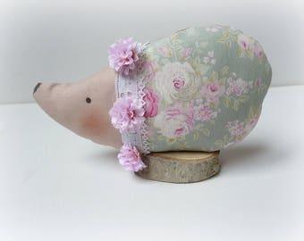 hedgehog heavenly pink vintage fabric