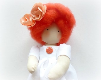 red cloth rag doll lace gift birth anniversary Clara