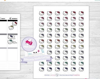 50% OFF SALE HELLO Kitty printable planner stickers ,hello kitty planner stickers, planner stickers for erin condren,happy planner stickers,