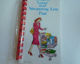 Vintage Coupon Saver and Shopping List Pad in Booklet for Purse, Never Opened