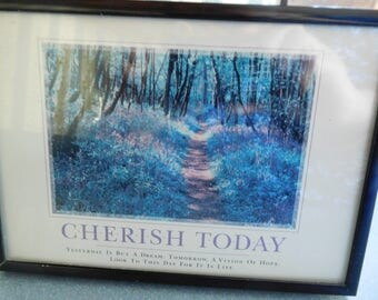 "Cherish Today Inspirational Picture in Metal Black Frame 7"" By 5"""