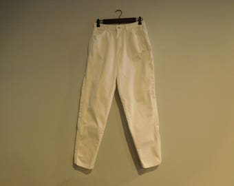 Vintage Retro White Jeans Size 11/12 With Lace Trim on Both Legs