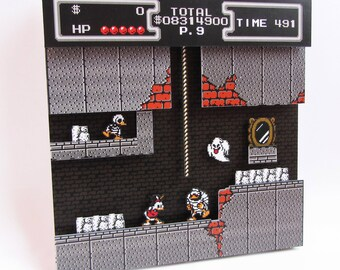 Duck Tales (NES) Video Game Shadow Box with Frame