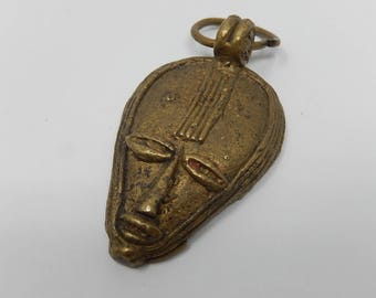 Old tribal face pendant, bronze sculpture, free shipping!