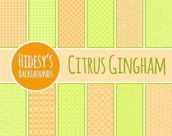 Digital Paper Citrus Gingham Patterns / Backgrounds Commercial Use Backgrounds