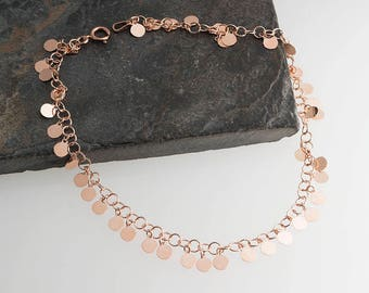 Rose Gold Chain Ankle with round Drops Minimalist JewelryHandmade AnkleGold Jewelry,Gift For Her,Lariat Ankle