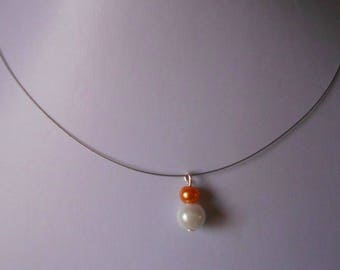 Duo of orange and White Pearl bridal necklace