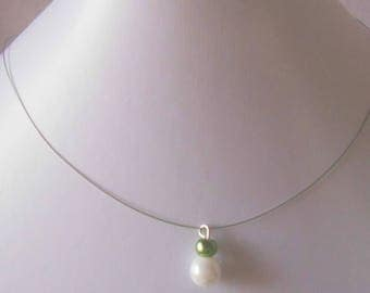 Pair of khaki and white pearls wedding necklace