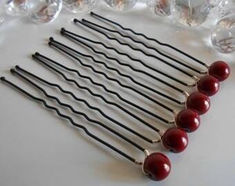 Set of 6 wedding hair pins Burgundy beads
