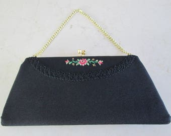 Embroidered Evening Bag with Chain Handle