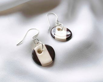 Ceramic earrings, cute handmade pendants & sterling silver earring hooks, unique and fun pendant earring jewellery for birthday gift idea