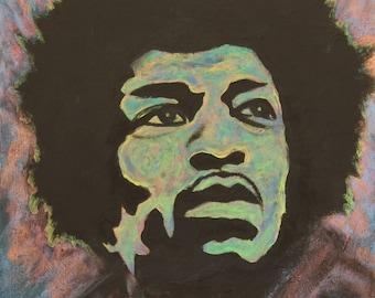Jimi Hendrix-art-original neon acrylic painting-portrait-abstract-silhouette