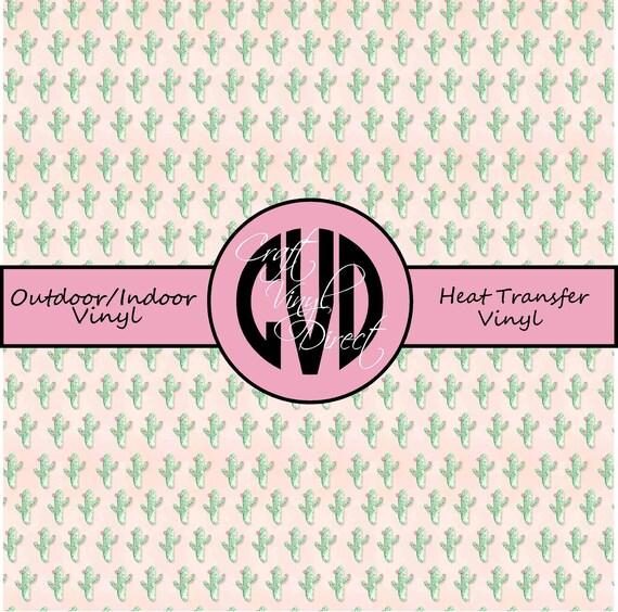 Cactus Patterned Vinyl // Patterned / Printed Vinyl // Outdoor and Heat Transfer Vinyl // Pattern 734