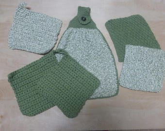 Sage green / white hanging dish towels, dish cloths, and hot pads handmade from 100% USA grown cotton.  USPS free domestic shipping!!!!!