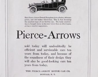 1918 Pierce Arrow ad.  Piece Arrow ad.  Original 1918 Piece Arrow ad.  Piece Arrow French Brougham, 6 cylinder, 48 hp.