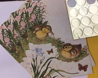 Vintage Current Just a Note Foldable Postalettes Duck Butterfly 9 Notes Stationery