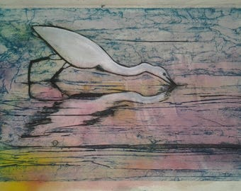 Egret Reflections Collagraph Print