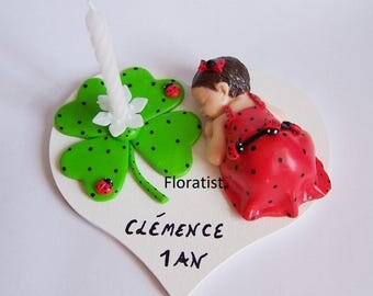 candle with baby girl Ladybug and clover Fimo to customize for birthday and anniversary plate