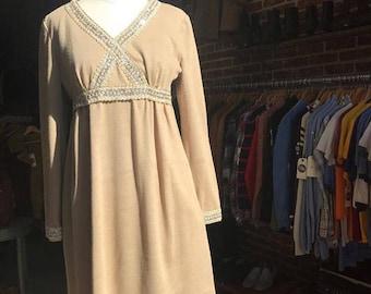Vintage Seventies 1970s Mr Mort Mini Dress by Stan Herman Size Medium
