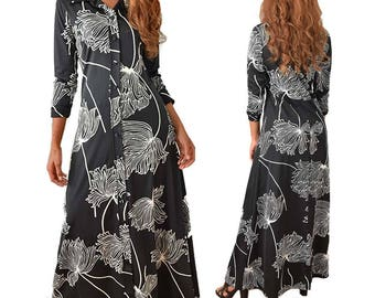 70s Lanvin Floral Maxi Dress-1970s-Black and White-Abstract Flower Print- Paris Designer-Long Sleeve-Wide Collar-Floor Length-A Line-M