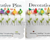 Decorative Sewing Pins - Produce Pins - Sewing Pins - Card making Pins - Scrapbooking Pins - Quilting Pins - Embellishment Pins - Fruit Pins