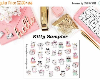 40% Off Sale Kitty Sampler//Planner Character Stickers//EC//HP