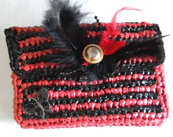 Belt pouch, bag, phone, black/red striped smartphone, camera case, recycled, hand crocheted.