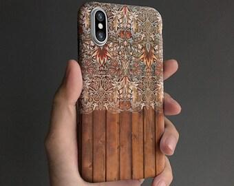 Floral iPhone X case, iPhone 7 case iPhone 8 case, iPhone 6s case, iPhone 6 plus case,   tough case, black gray T573