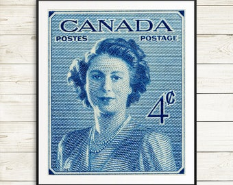 P032 Fine art print: Princess Elizabeth, 1947, Queen Elizabeth 2, Royal Portrait, Royal Family, Elizabeth Portrait, Canada Stamp Art, Postal