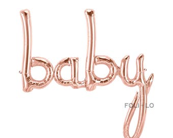 BABY Script Balloon | Rose Gold Baby Balloon | Baby Shower Balloon | Baby Birthday Balloon | Rose Gold Balloon | Baby Decoration