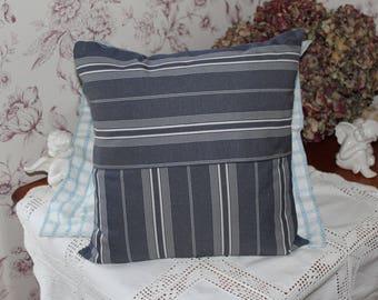 Cushion cover 40 x 40 striped Denim Blue and ecru