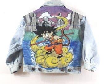 Veste jean bleu clair, veste en jean Kid Motif dessin animé peint main Taille 4 ans