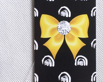 ETSY 100 FASHION BOUTIQUE  Tags Clothing Tags Price Tags Cute Yellow Bow on Black Tags Plastic Loop Pins  Accessories Tags at Etsy