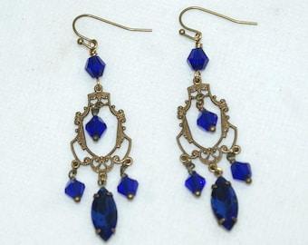Antique bronze plated brass, blue crystal chandelier earrings