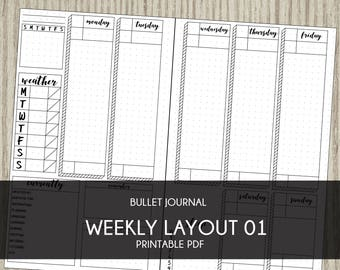 Bullet Journal template printable planner weekly layout bujo starter kit instant download agenda calendar 2017 2018 diy insert