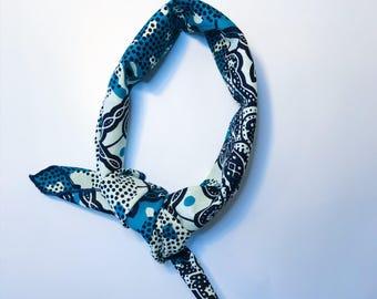 Blue Bandana // Blue and Cream African Print Bandana // Cotton Bandana