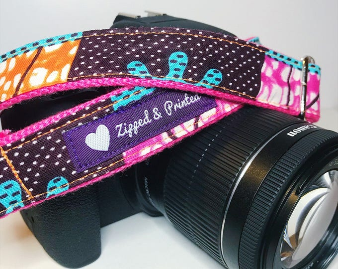 Featured listing image: African Print Camera Strap // Camera Strap // Pink and Orange Camera Strap // Leather-Free Camera Strap