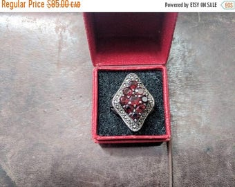 ON SALE Vintage Sterling Silver, Red Stone and Marcasite Ring