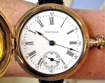 1903 USA AWWCo GF 35mm Waltham Keystone Mechanical Pocket-Wrist Watch Conversion Serviced
