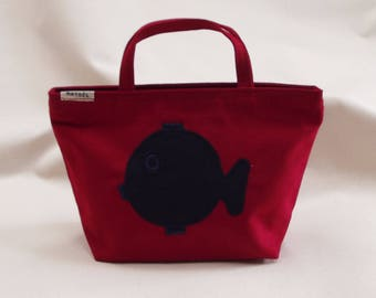 little red bag with a blue fish