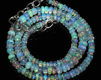 """53 Ctw 1Necklace 3.5to6 mm 16"""" Beads Natural Genuine Ethiopian Welo Fire Opal 87905"""