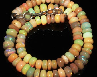 """85 Ctw 1Necklace 6to8 mm 13"""" Beads Natural Genuine Ethiopian Welo Fire Opal 7027"""