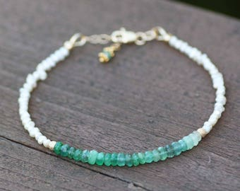 Natural Pearl and Ombre Emerald Bracelet 14k Gold Filled, 20th 30th Anniversary , June May Birthstones , Healing Gem , Layering , Stacking