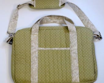 Crossbody Quilted Laptop Bag Sage Green and Beige