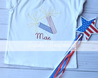 July 4th, Memorial Day, Girls Fireworks Shirt
