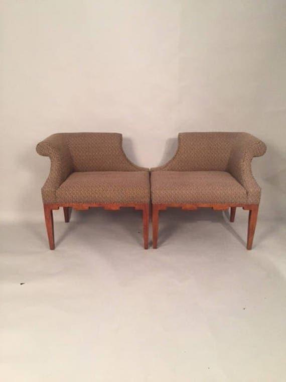 Pair of Baker Deco Upholstered Seat w Wood legs