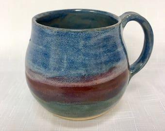 Pottery mug - stoneware mug - handmade mug - rustic mug - coffee mug - art mug - blue pottery - hug mug