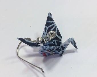 Blue Paper Crane Earrings